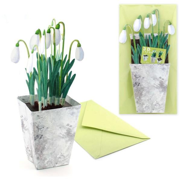 Osterkarte Schneeglöckchen - 3D Blumenkarte Ostern Grußkarten-Set mit Couvert
