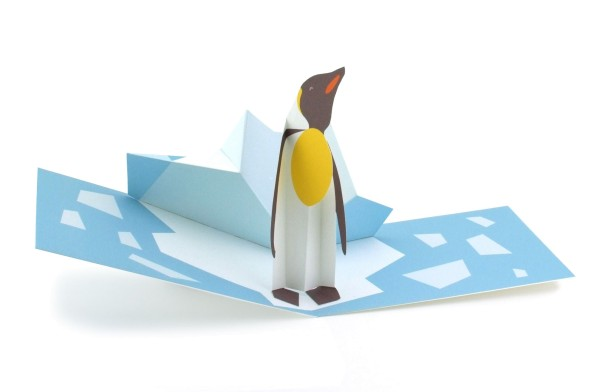 "Pop-up-Karte ""Pinguin im Eisfeld"""