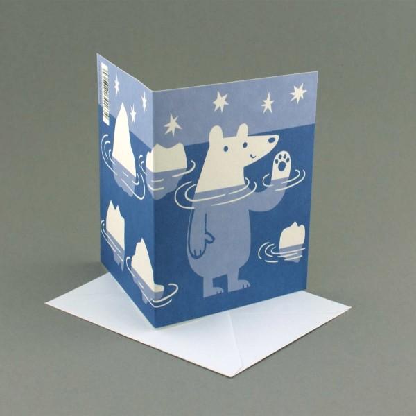 Klappkarte Eisbär und Eisberge