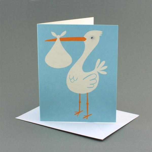 Geburtskarte Storch / Junge