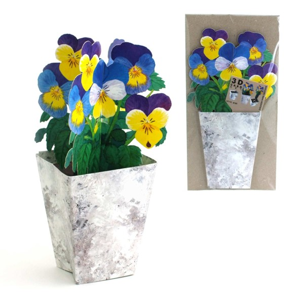 Grußkarte Stiefmütterchen, 3D-Blumenkarte