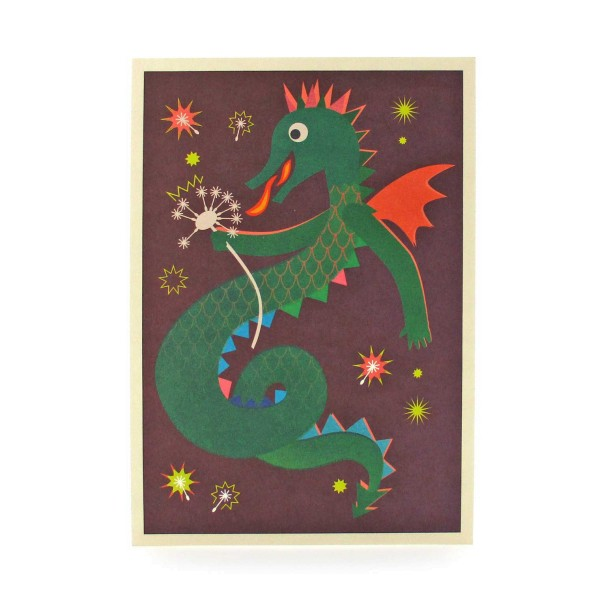 Postkarte Drache mit Pusteblume