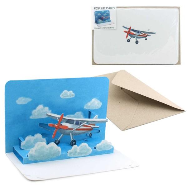 Pop-Up Karte Flugzeug - Falt-Grusskarte Set mit Briefumschlag