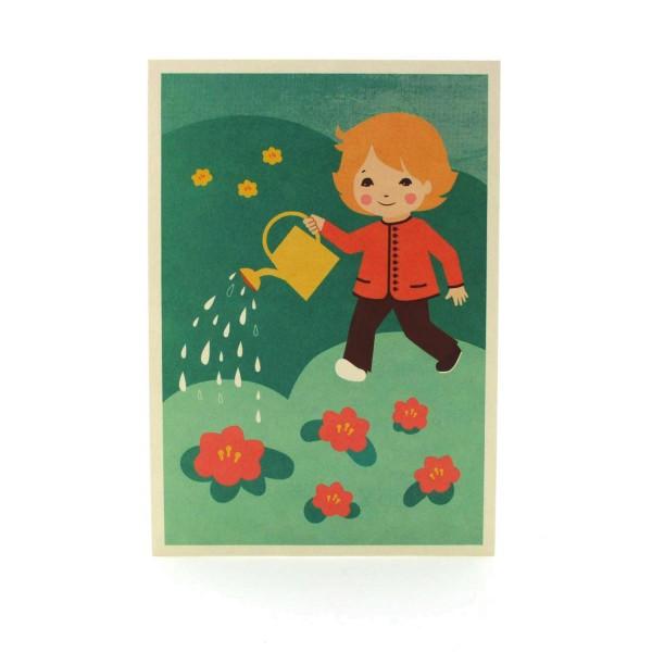 Postkarte Gartenfreude mit einem Kind