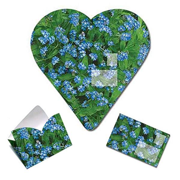 Faltbrief Vergiss mein nicht - Faltbriefbogen Valentinsgrüße aus Papier komplett Set Ansicht Innenseite und gefaltet