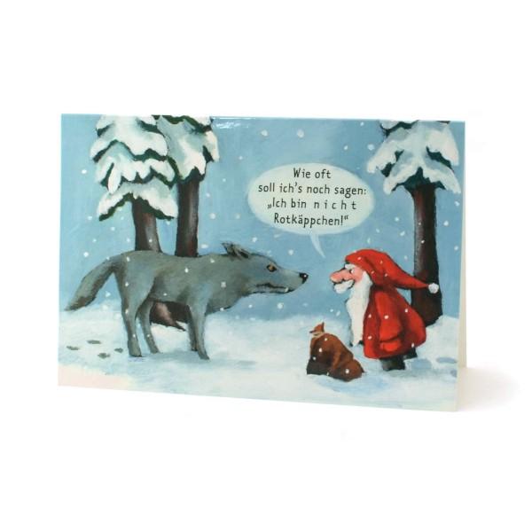Klappkarte Nikolaus und der Wolf