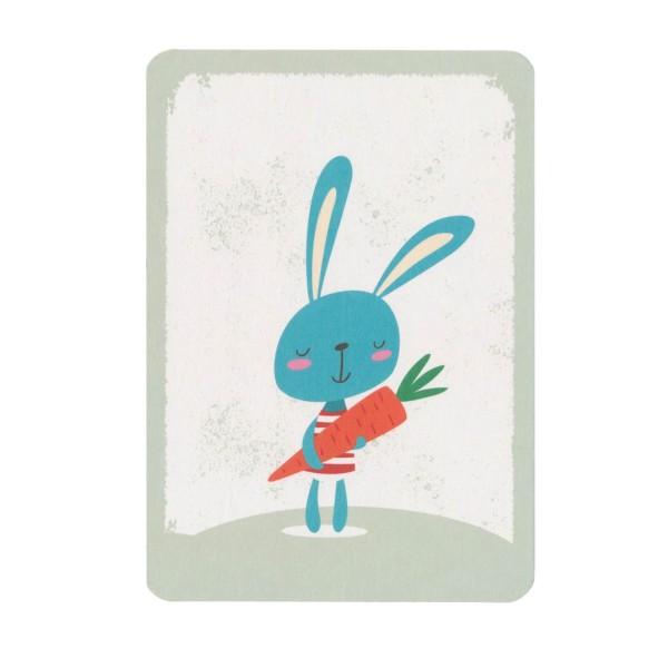 Postkarte Hase mit Möhre