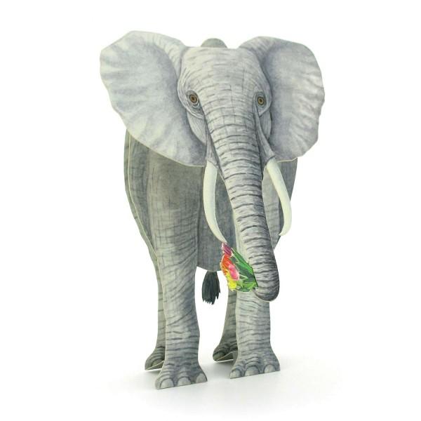 3D-Tierkarte Elefant mit Blumenstrauß
