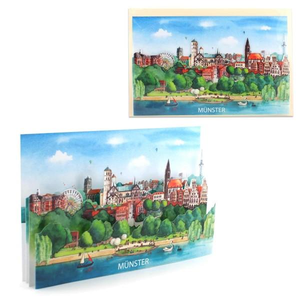 Ansichtskarte Münster - Pop-Up Karte Stadtmotiv