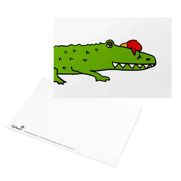 Postkarte Norbert auf Krokodil - Postkarte Norbert auf Krokodil - Grußkarte Ansicht Vorderseite und Rückseite