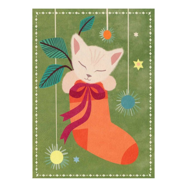 Postkarte Kätzchen im Strumpf