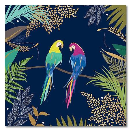 Klappkarte Zwei Papageien