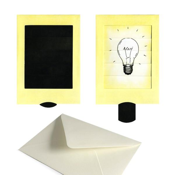 Karte Glühbirne / Erleuchtung - Schiebekarte Grusskarte