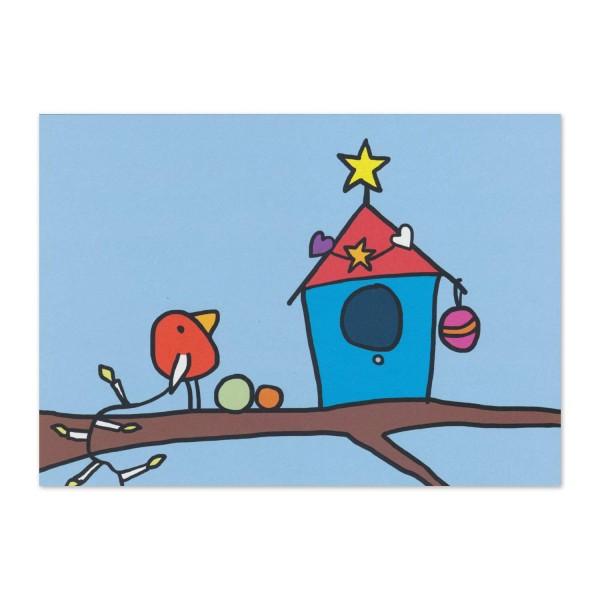 Postkarte Norbert schmückt sein Haus weihnachtlich