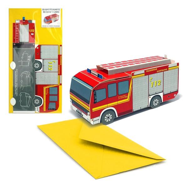 Bastelkarte 3d Feuerwehrauto - Grußkarte Kindergeburtstag mit Couvert