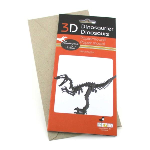 Bastelkarte 3D Velociraptor - Grußkarte