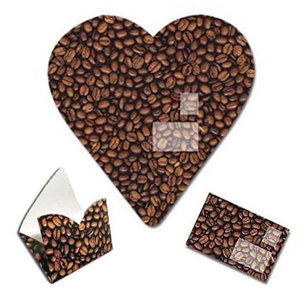Faltbrief Herz Kaffeebohnen - Faltbriefbogen aus Papier komplett Set Ansicht Innenseite und gefaltet