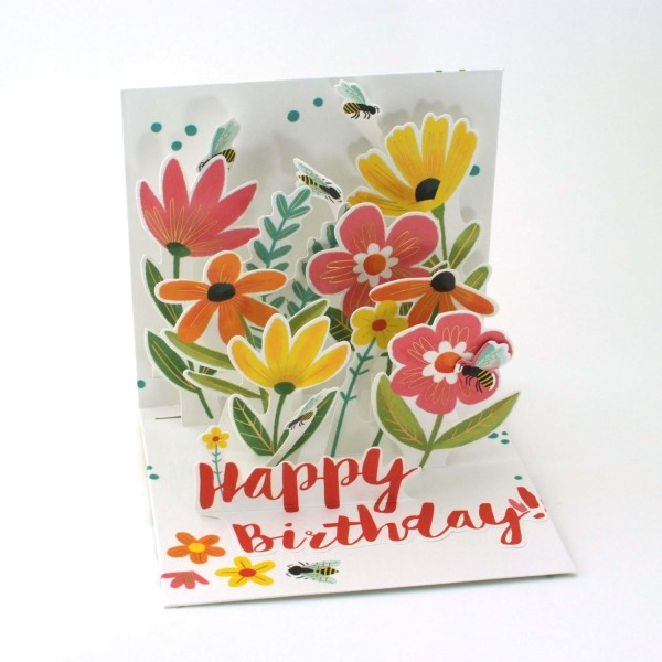 Pop-up-Karte Happy Birthday/Blumen und Bienen