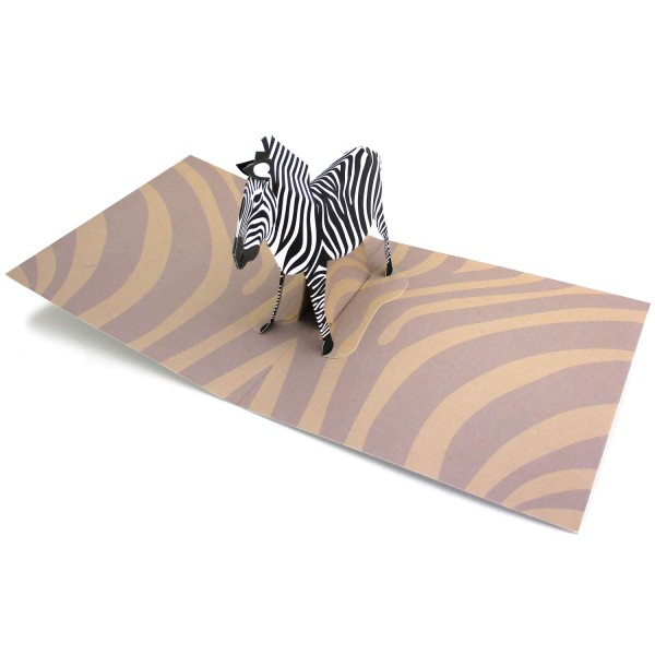 Pop-up-Karte mit dreidimensionalem Zebra