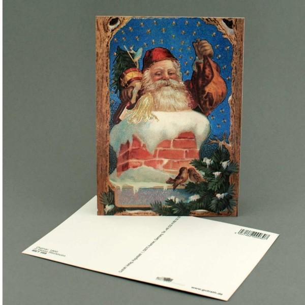Postkarte Nikolaus im Kamin