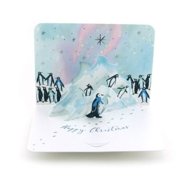 Pop-up-Karte Pinguine und Polarlichter