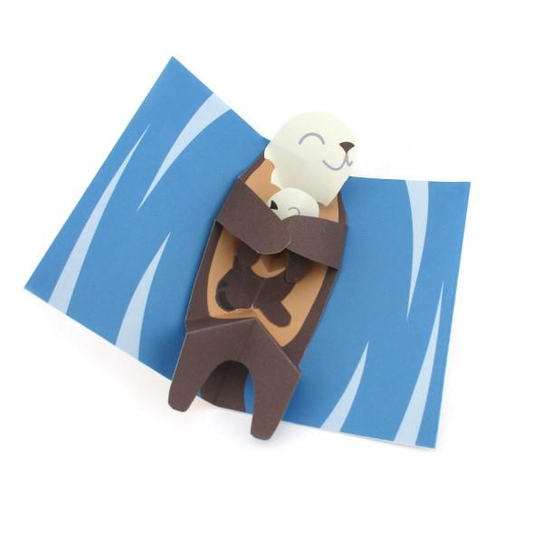Pop-up-Karte mit Otter und Babyotter