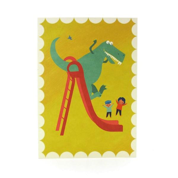 Postkarte Dinosaurier auf einer Rutsche