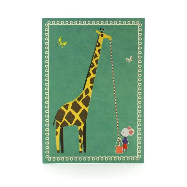 Postkarte mit Giraffe und Maus