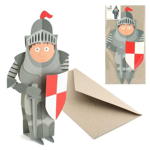 Grusskarte Ritter - 3D Figurenkarte Set mit Couvert