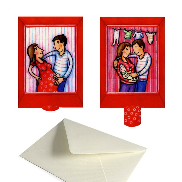 Geburtsanzeige Kindersegen - Schiebe Grusskarte Geburt Set mit Couvert