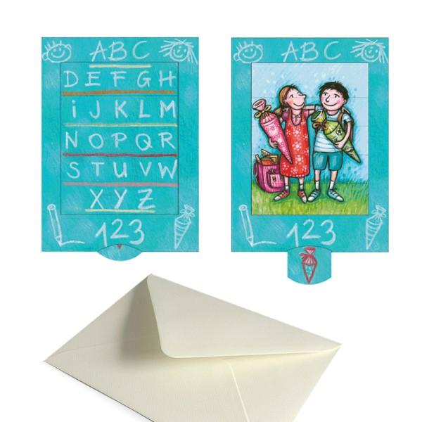 Karte Einschulung - Schiebekarte 1. Schultag Grusskarte Set mit Versandtasche