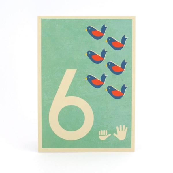 Zahlen-Postkarte 6