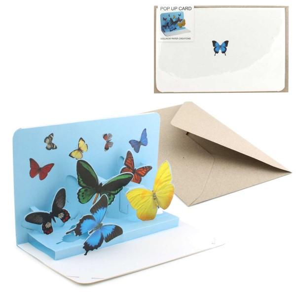 Pop-Up Karte Schmetterlinge - Grußkarte Valentinstag komplett Set inklusive Briefumschlag