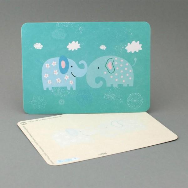 Postkarte mit einem niedlichen Elefantenpaar