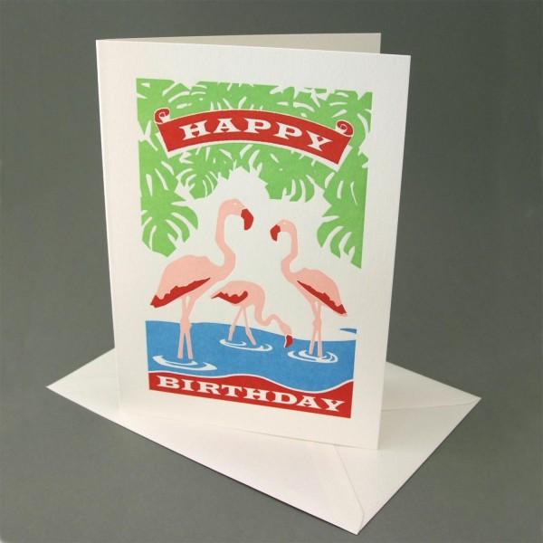 Klappkarte / Letterpresskarte Flamingos