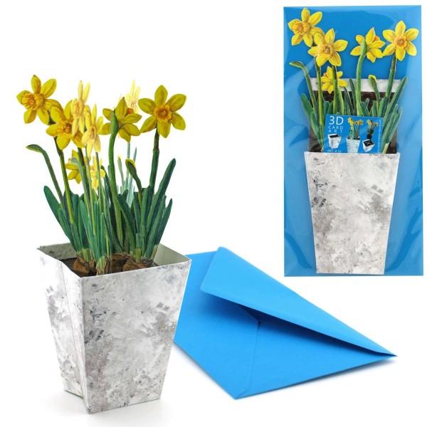 Blumenkarte Motiv Narzisse - 3D Faltkarte Set mit Versandtasche