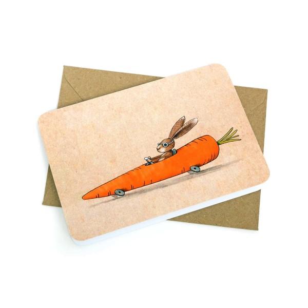 Klappkarte Hase im Möhrenflitzer