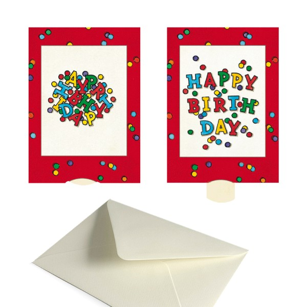 Geburtstagskarte Happy Birthday - Lebende Karte Glückwünsche Kartenset inklusive Kuvert