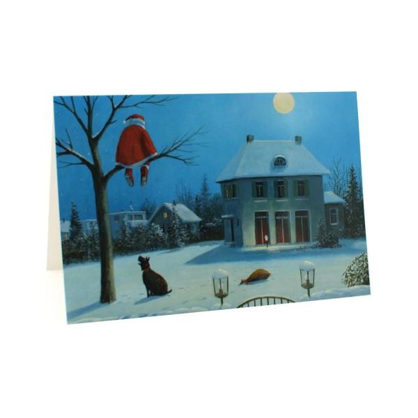 Weihnachtskarte Der Nikolaus hat Angst vor Hunden