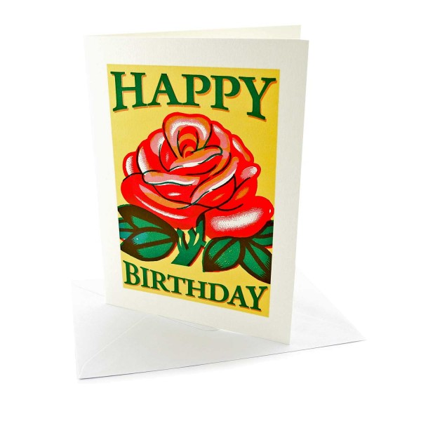 Geburtstagskarte / Letterpresskarte Rose