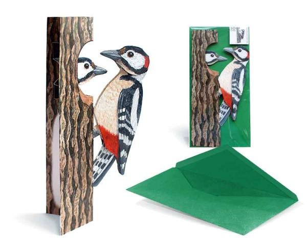 Grußkarte 3D Buntspecht Paar - Hochzeitskarte komplett Set mit Umschlag