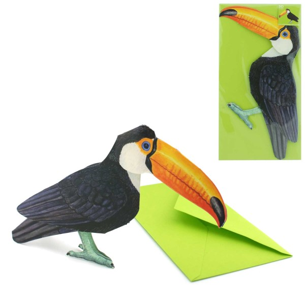 Grusskarte 3D Tukan - Faltkarte Tiermotiv komplett Set mit DIN-lang Versandhülle