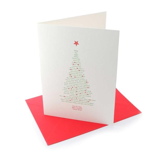 Letterpresskarte mit Couvert-Weihnachtskarte