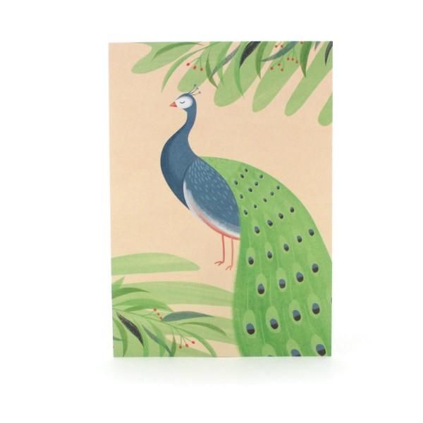 Postkarte mit einem Pfau