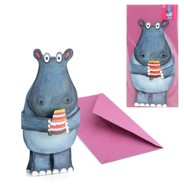 3D-Tierkarte Nilpferd mit Torte