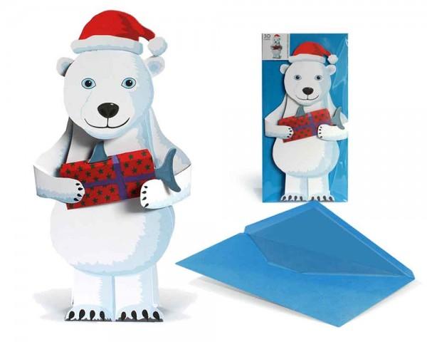 Weihnachtskarte 3D Eisbär mit Geschenk - Grußkarte mit Briefumschlag