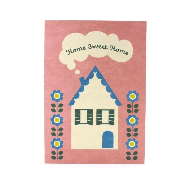Postkarte mit einem kleinen Haus, Home Sweet Home