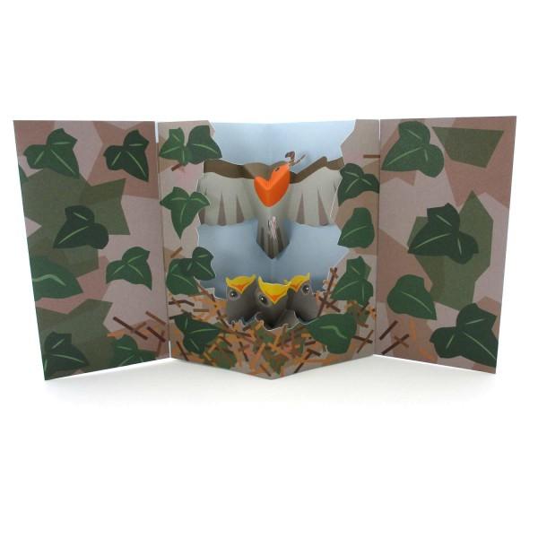 Pop-up-Karte Rotkehlchen mit Nest
