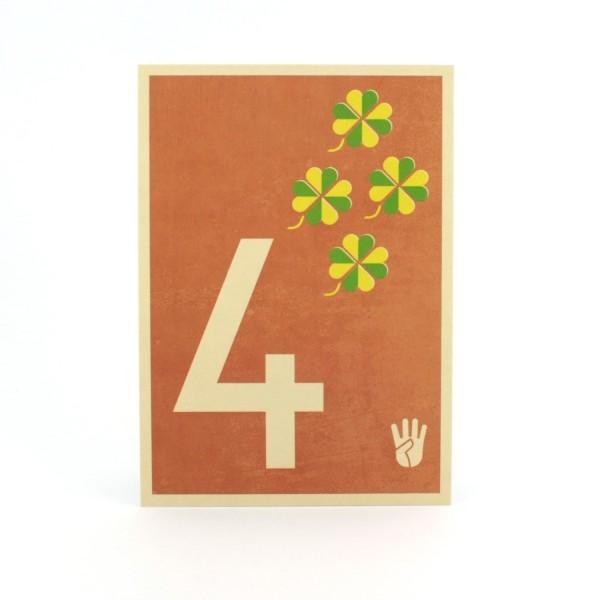 Zahlen-Postkarte 4