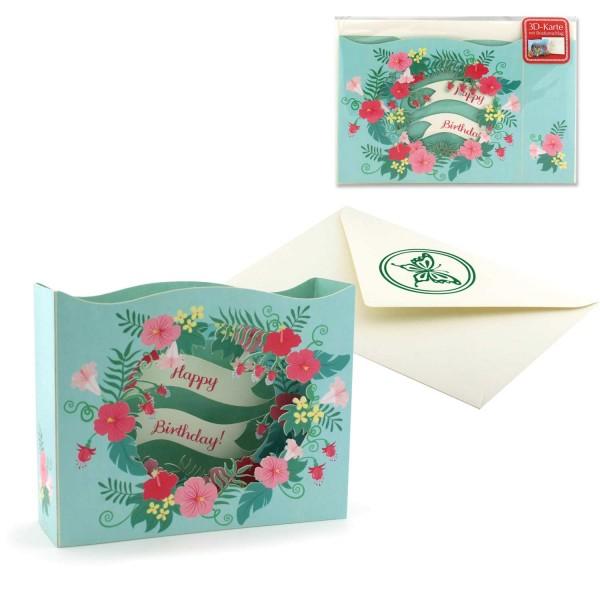 Diorama Grusskarte Happy Birthday - Pop Up Geburtstagskarte Set mit Couvert